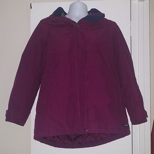 Lands End Squall M Purple Fleece Lined Hooded Coat